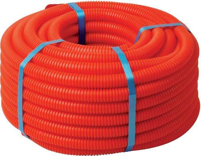 Труба гофрированная ДКС, ПНД, d 16 мм, с протяжкой, цвет: оранжевый (уп.100 м). 71916 труба пнд пэ 100 для систем водоснабжения 32х3 мм бухта 100 м синяя