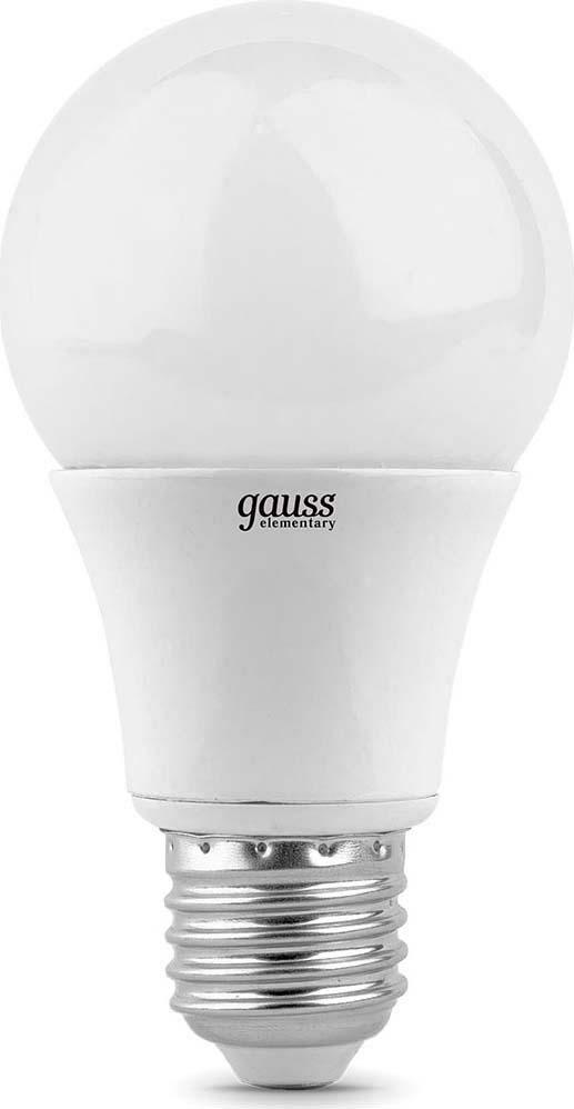 Лампа светодиодная Gauss Elementary, грушевидная, цвет: белый, A60, 7Вт, 2700К, E27, 520лм, 180-240В. 23217A лампа светодиодная gauss ld53126
