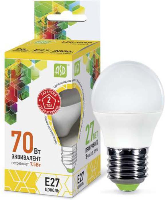 "Лампа светодиодная ""ASD"" LED-ШАР-STD, 7,5Вт, 230В, E27, 3000К, 675Лм"