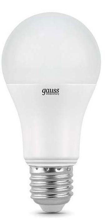 """Лампа светодиодная Gauss """"Elementary"""", грушевидная, цвет: белый, A60, 20Вт, 4100К, E27, 1600лм, 180-240В. 23229"""