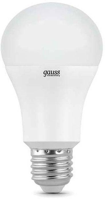 """Лампа светодиодная Gauss """"Elementary"""", грушевидная, цвет: белый, A60, 15Вт, 4100К, E27, 1450лм, 180-240В. 23225"""
