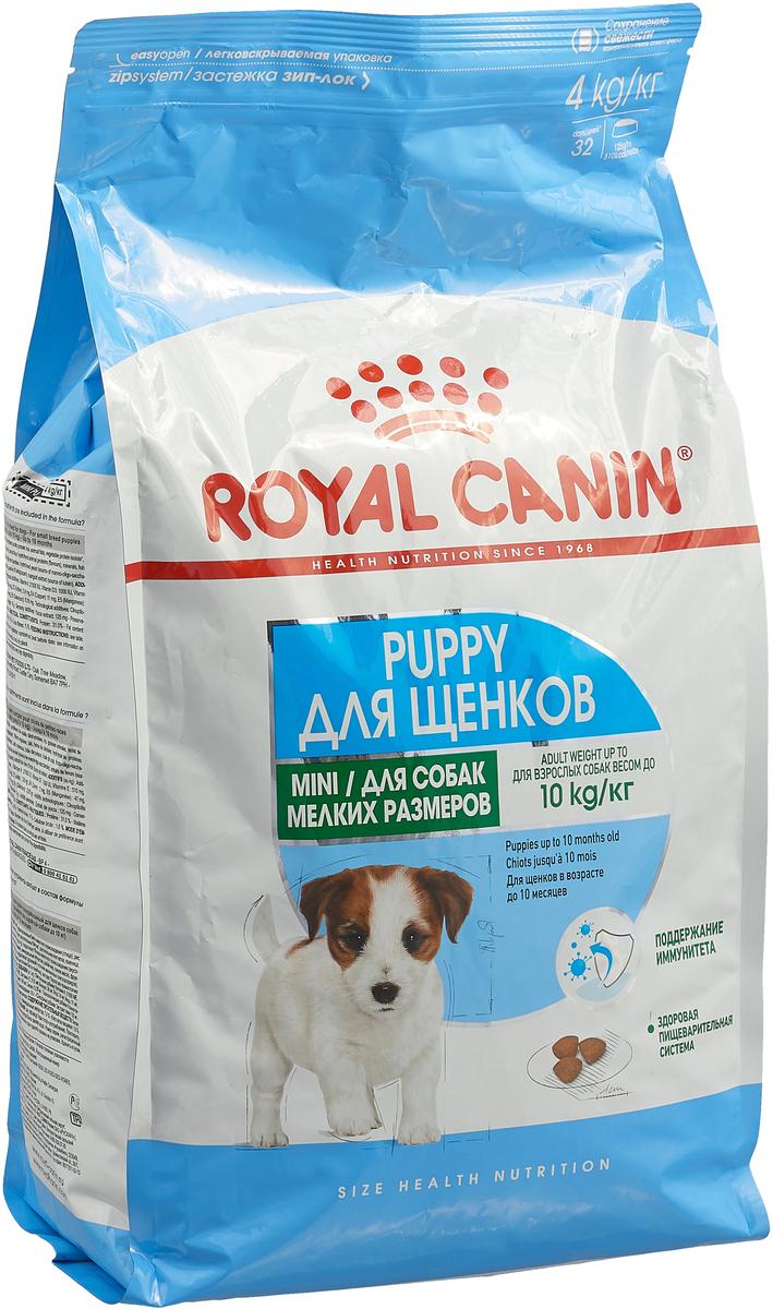 Корм сухой Royal Canin Mini Junior, для щенков мелких пород в возрасте от 2 до 10 месяцев, 4 кг. 305040 корм для щенков royal canin роял канин junior до 10 месяцев конс 195г