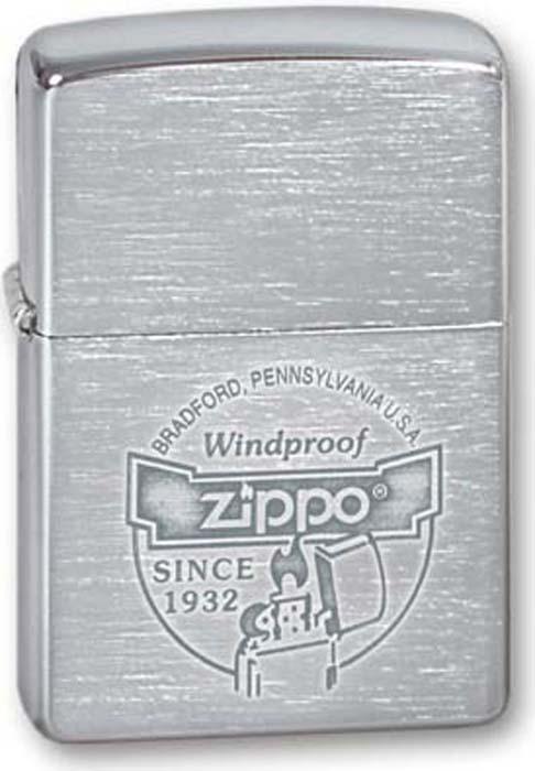 Зажигалка Zippo Since 1932, цвет: серебристый, 3,6 х 1,2 х 5,6 см. 200 ZIPPO WINDPROOF SINCE 1932