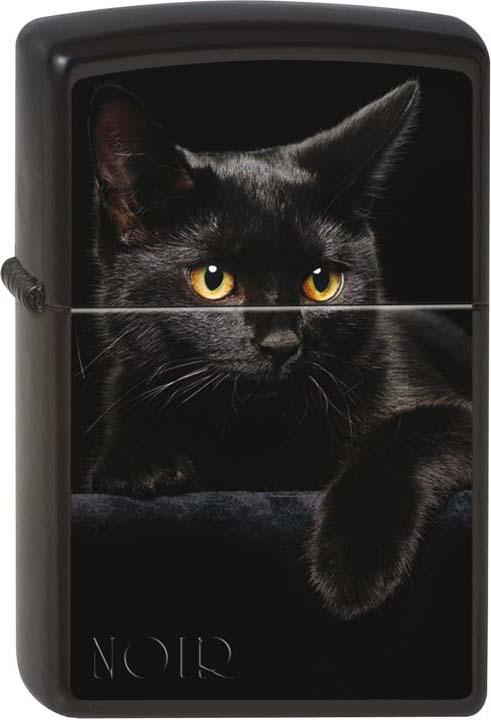 """Зажигалка Zippo """"Черный кошка"""", цвет: черный, 3,6 х 1,2 х 5,6 см. 48589"""