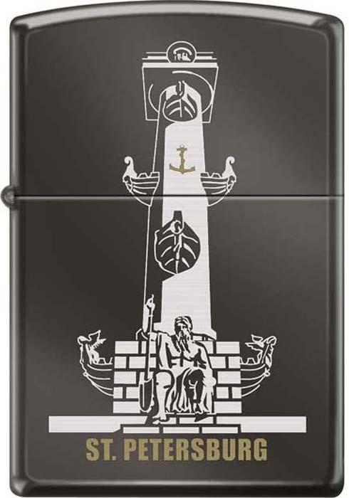 """Зажигалка Zippo """"Ростральная колонна"""", цвет: черный, 3,6 х 1,2 х 5,6 см. 49568"""