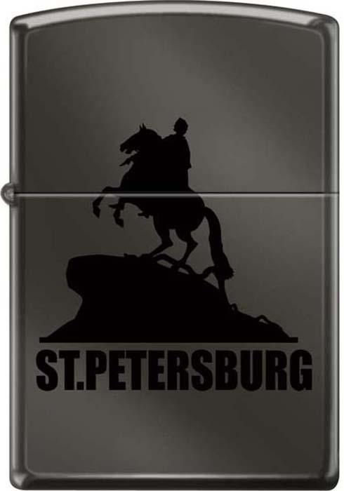 """Зажигалка Zippo """"Медный всадник"""", цвет: черный, 3,6 х 1,2 х 5,6 см. 48912"""