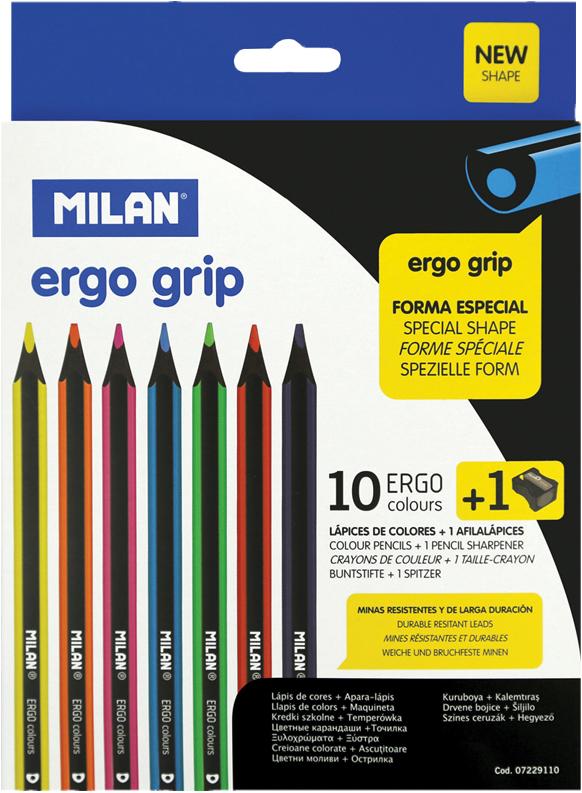 Milan Карандаши пластиковые Ergo Grip 10 цветов с точилкой milan точилка 20127240