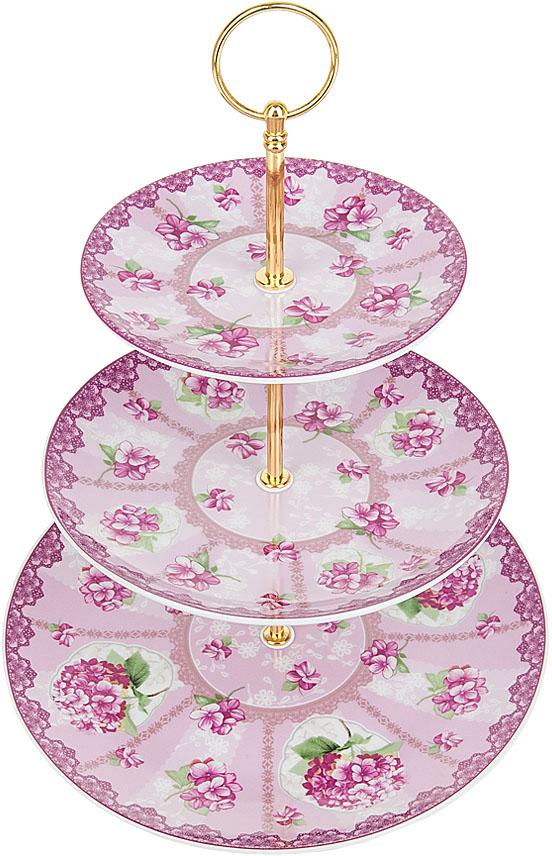 Фруктовница Nouvelle De France Розовая гортензия, 3-уровневая, диаметр 15/20/25,5 см, высота 34 см солонка и мельница для перца nouvelle de france розовая гортензия 5 х 5 х 14 5 см 2 предмета