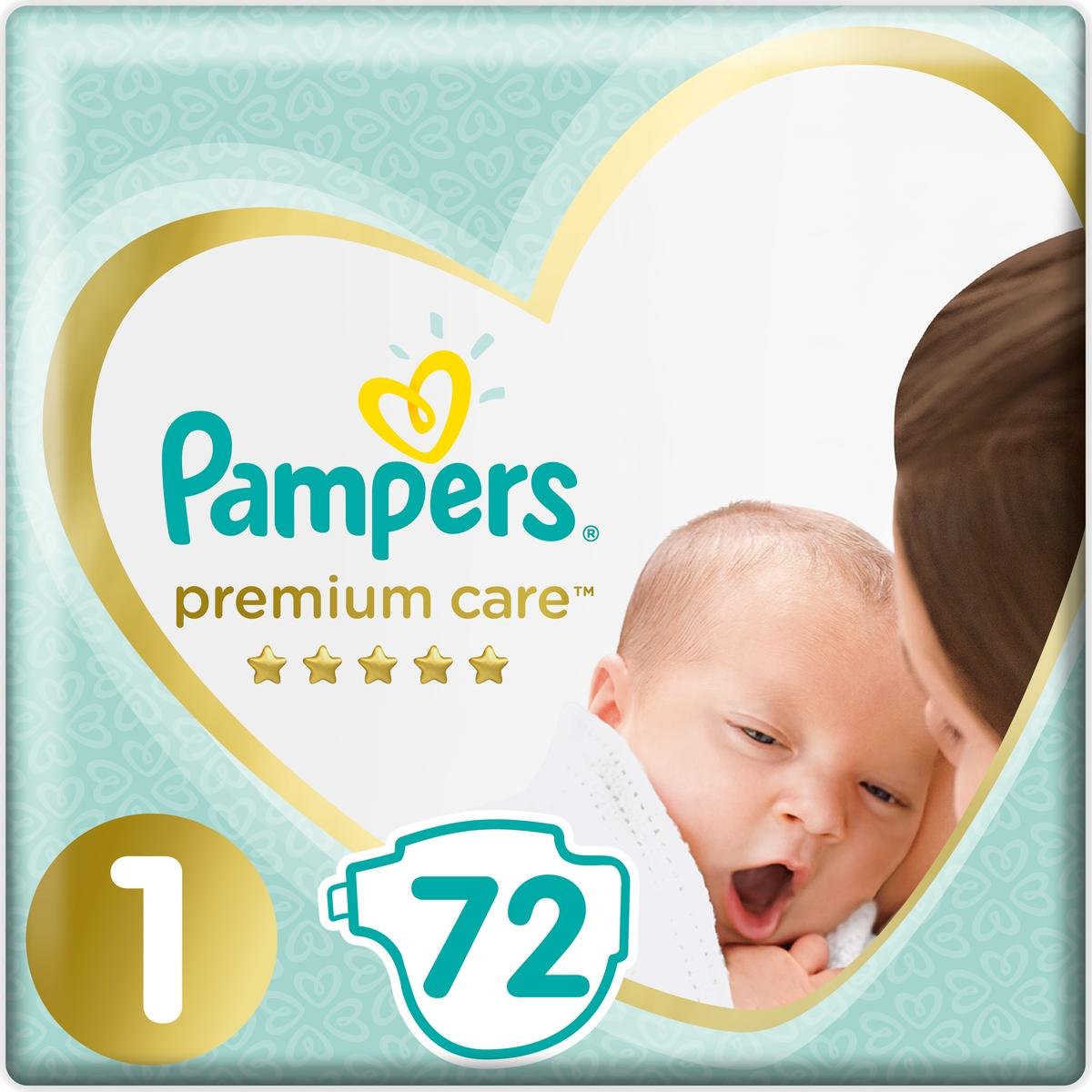 Pampers Подгузники Premium Care 2-5 кг (размер 1) 72 шт подгузники pampers premium care 5 11 кг 42 шт