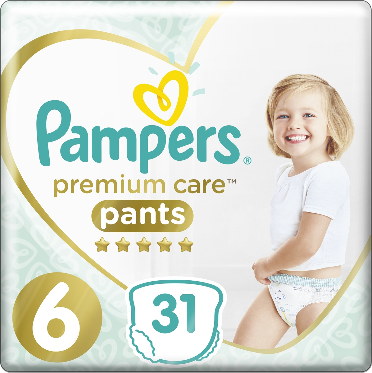 Pampers Подгузники-трусики Premium Care 15+ кг (размер 6) 31 шт pampers 800 number