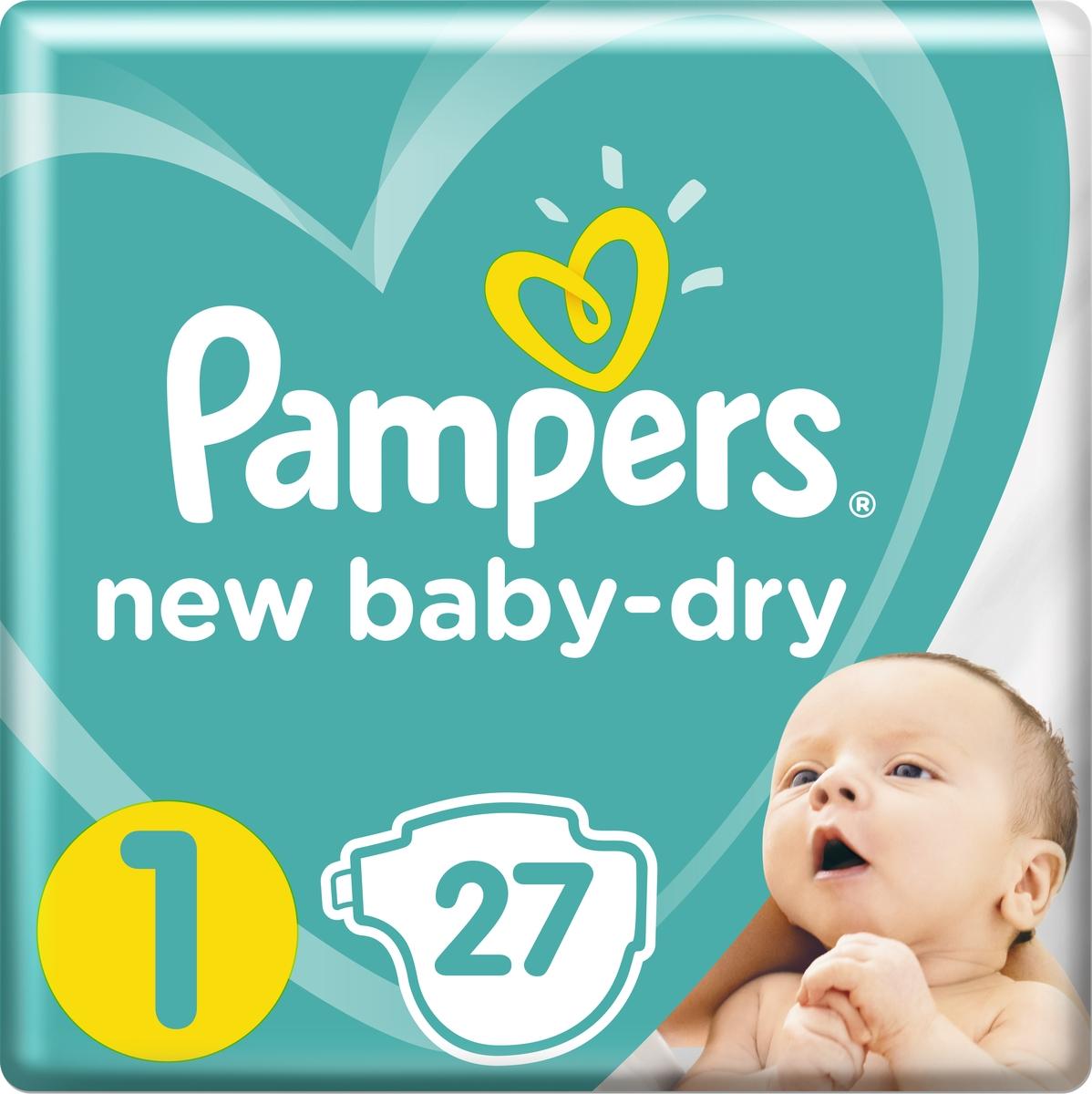 Pampers Подгузники New Baby-Dry 2-5 кг (размер 1) 27 шт