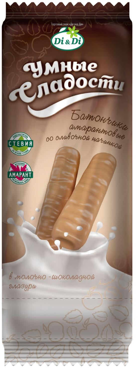 Умные сладости батончик со сливочной начинкой в молочно-шоколадной глазури, 20 г умные сладости конфеты курага с грецким орехом в шоколадной глазури 210 г