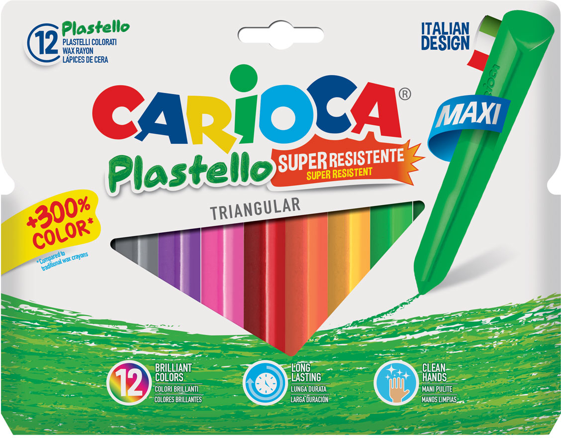 Carioca Набор крупных пластиковых мелков Plastello Maxi 12 цветов carioca набор экстра крупных восковых карандашей baby для детей