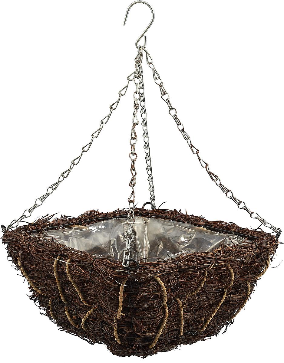 Кашпо плетеное Грин Бэлт, корзина прямоугольная, цвет: бежевый, диаметр 30 см кронштейн декоративный грин бэлт петух для подвесных кашпо