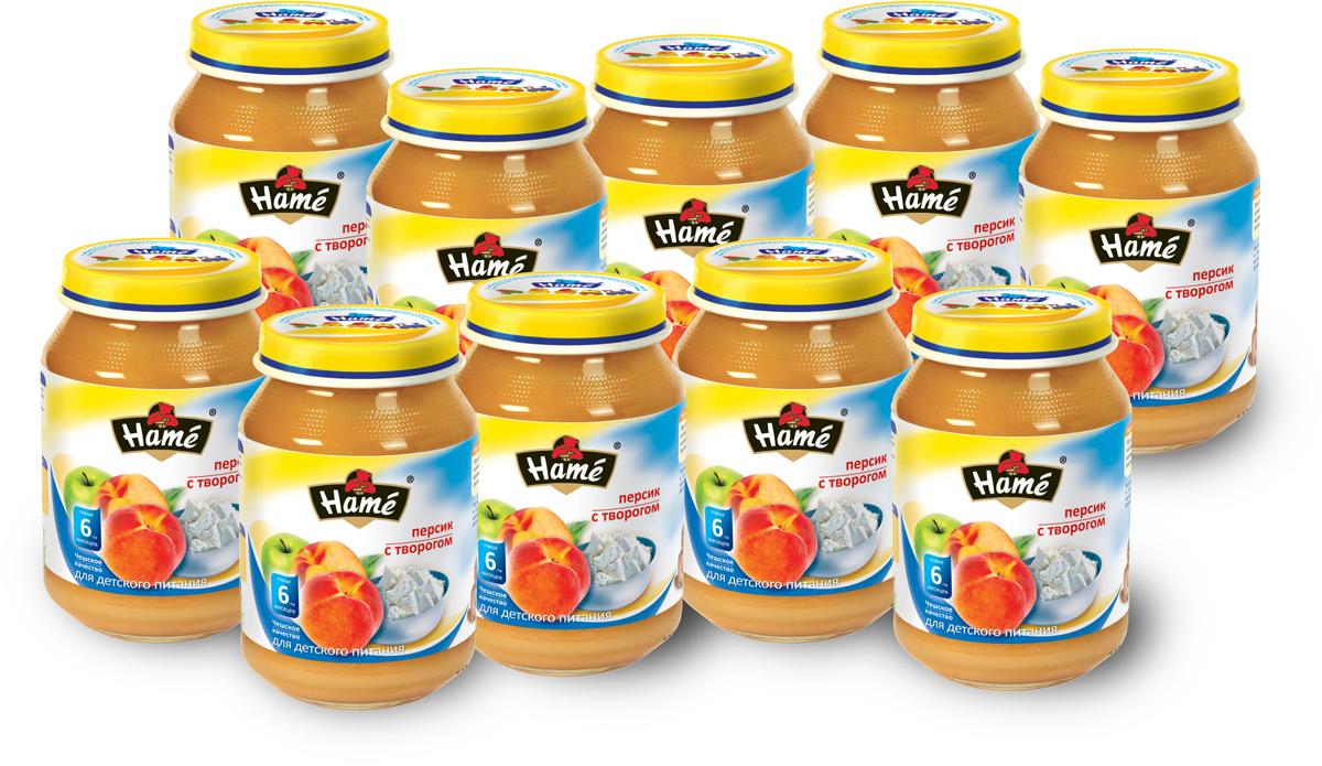 Hame пюре персик с творогом фруктовое, 10 шт по 190 г hame пюре курица с говядиной мясное 8 шт по 100 г