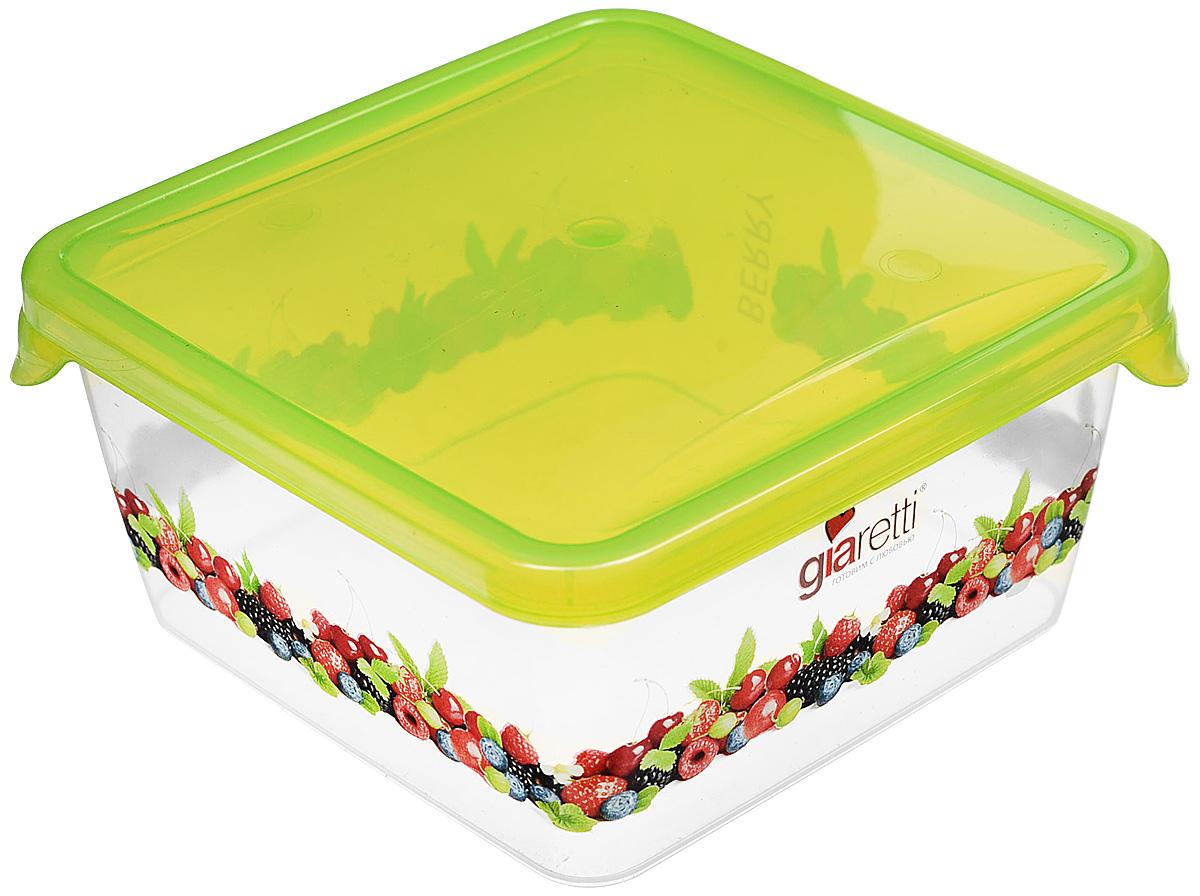 Емкость для продуктов Giaretti Браво. Ягоды, цвет: зеленый, 450 мл. GR1064 емкость для продуктов giaretti браво цвет белый прозрачный 900 мл gr1068