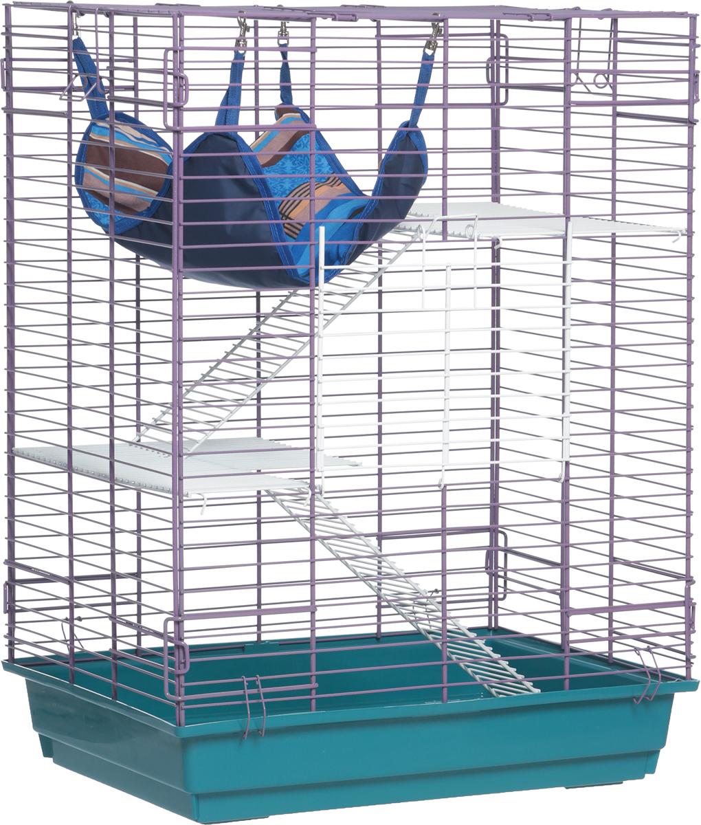 Клетка для шиншилл и хорьков ЗооМарк, цвет: зеленый поддон, фиолетовая решетка, 59 х 41 х 79 см клетка для шиншилл и хорьков зоомарк цвет синий поддон синяя решетка 59 х 41 х 79 см 725дк