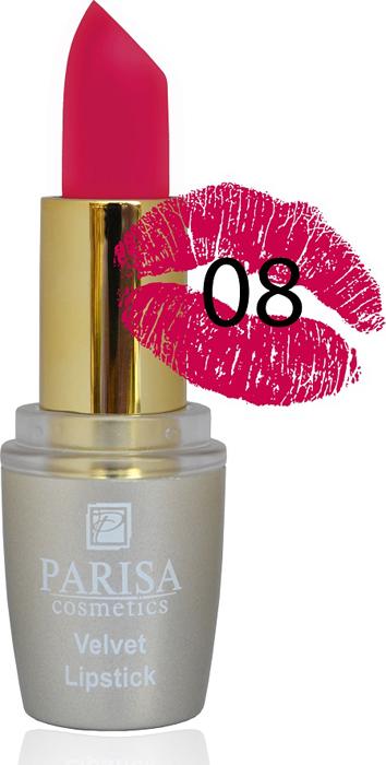 Фото - Parisa Помада для губ Mate Velvet, тон №08 дольче вита, 3,8 г parisa помада для губ mate velvet тон 10 персиковый натурель 3 8 г