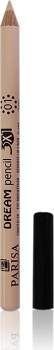 Parisa Универсальный Корректор карандаш для контур губ, бровей, век 3в1, тон №01 лайт, 1,2 г10448Многофункциональный карандаш-корректор можно использовать как консилер для скрытия мелких дефектов кожи, как контур для визуального увеличения губ, как кайал – для проработки внутренней слизистой глаза, а также как хайлайтер под брови.