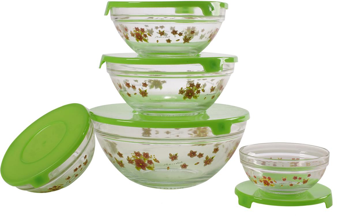 """Набор стеклянных салатников """"Irit"""", с крышками, цвет: прозрачный, зеленый, 5 шт"""