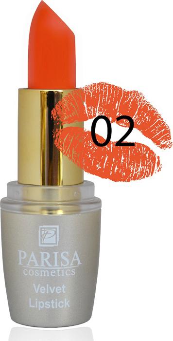 Фото - Parisa Помада для губ Mate Velvet, тон №02 морковный мусс, 3,8 г parisa помада для губ mate velvet тон 10 персиковый натурель 3 8 г