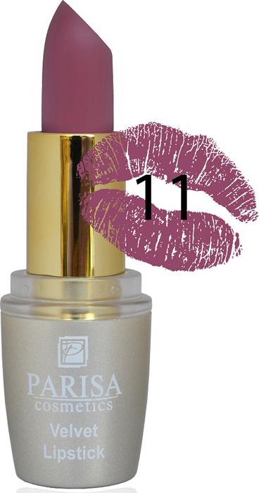 Фото - Parisa Помада для губ Mate Velvet, тон №11 пурпурный бургунди, 3,8 г parisa помада для губ mate velvet тон 54 гранатовый иней 3 8 г