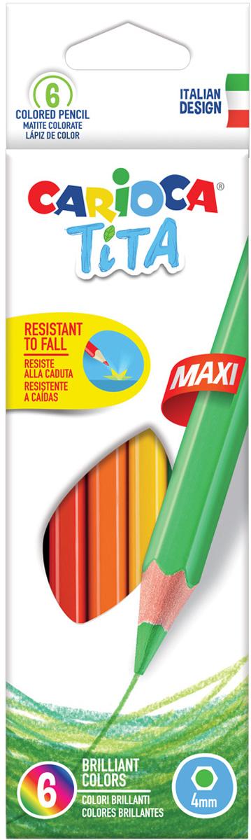 Carioca Набор цветных карандашей Tita Maxi 6 цветов набор цветных карандашей carioca tita пластиковые с европодвесом 24 цвета