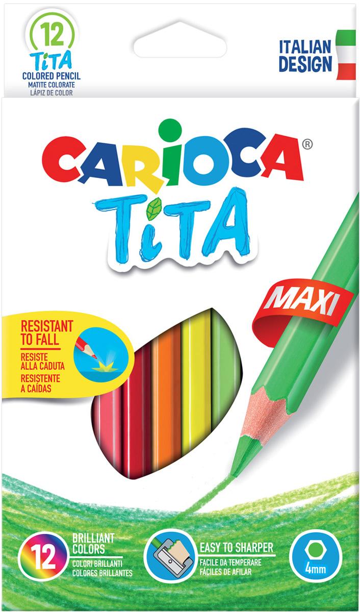Carioca Набор цветных карандашей Tita Maxi 12 цветов carioca набор крупных пластиковых мелков plastello maxi 12 цветов