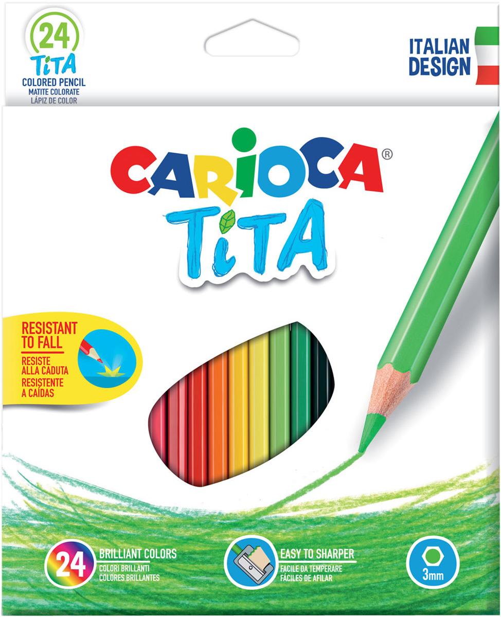 Carioca Набор цветных карандашей Tita 24 цвета набор цветных карандашей carioca tita пластиковые с европодвесом 24 цвета