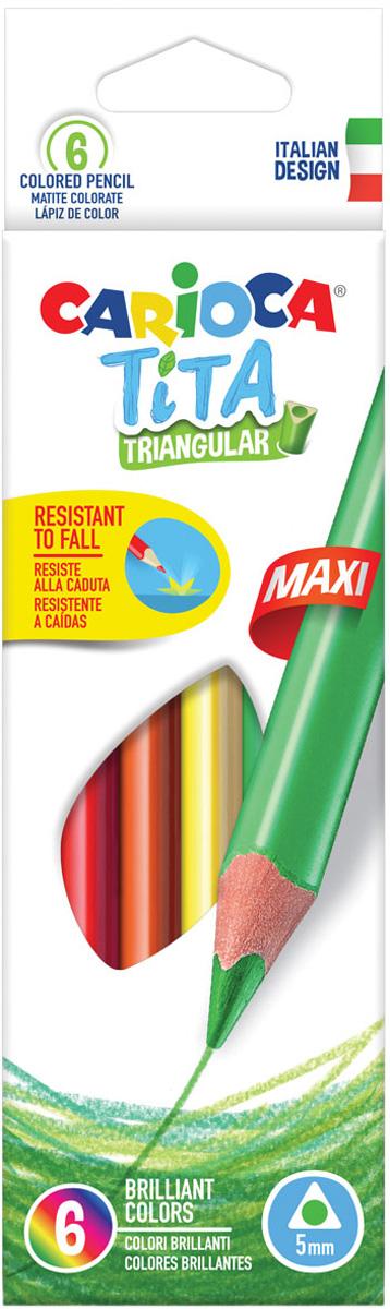 Carioca Набор крупных цветных карандашей Tita Maxi 6 цветов carioca набор крупных пластиковых мелков plastello maxi 12 цветов