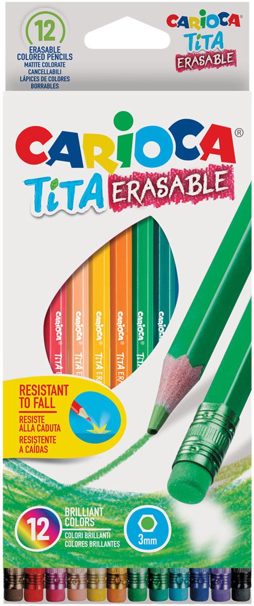 Carioca Набор цветных карандашей Tita Erasable 12 цветов шестигранные набор цветных карандашей carioca tita пластиковые с европодвесом 24 цвета
