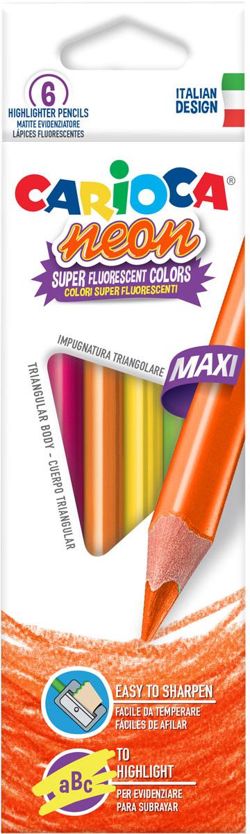 Carioca Набор карандашей-текстовыделителей Neon 6 цветов набор текстовыделителей silwerhof prime 4 цвета 108031 00