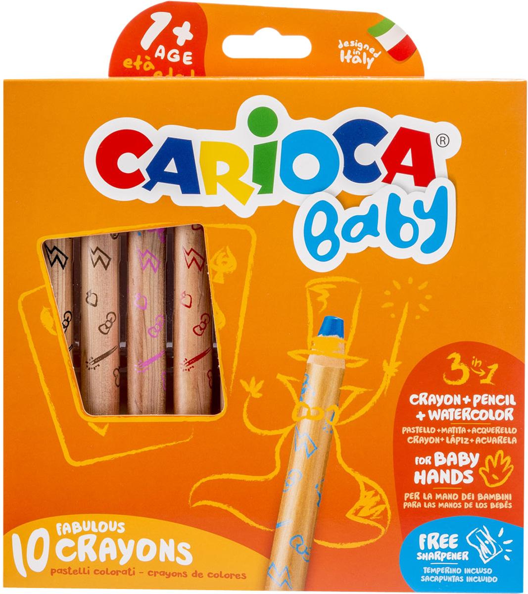 Carioca Набор экстра-крупных восковых карандашей Baby 10 цветов + точилка carioca набор экстра крупных восковых карандашей baby для детей