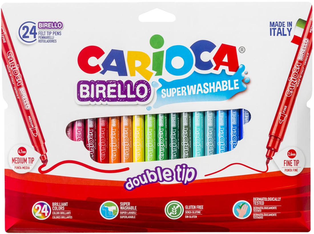Carioca Набор фломастеров Birello двусторонние 24 цвета carioca набор смываемых восковых карандашей baby 8 цветов