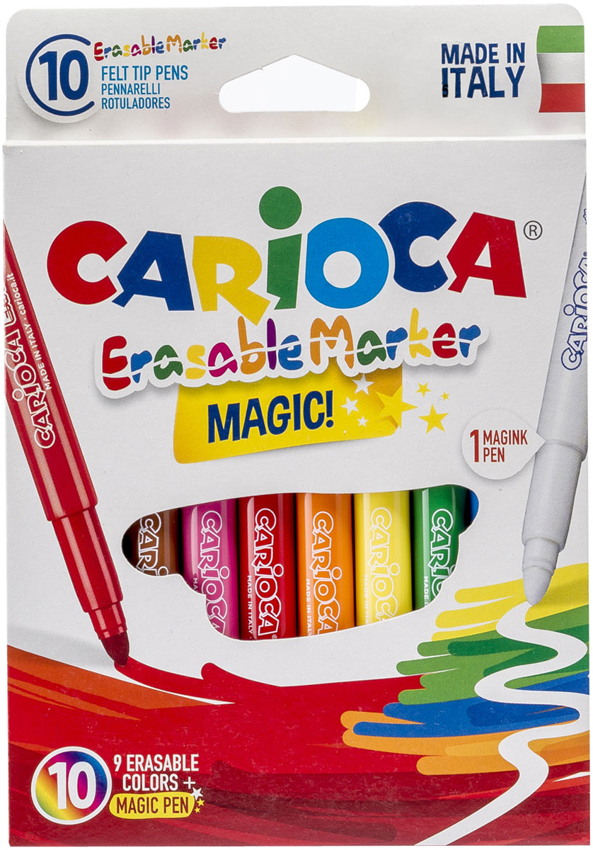 Carioca Набор фломастеров Erasable стираемые 9 цветов 10 шт carioca набор фломастеров carioca jumbo 12 цв в картонном конверте с европодвесом