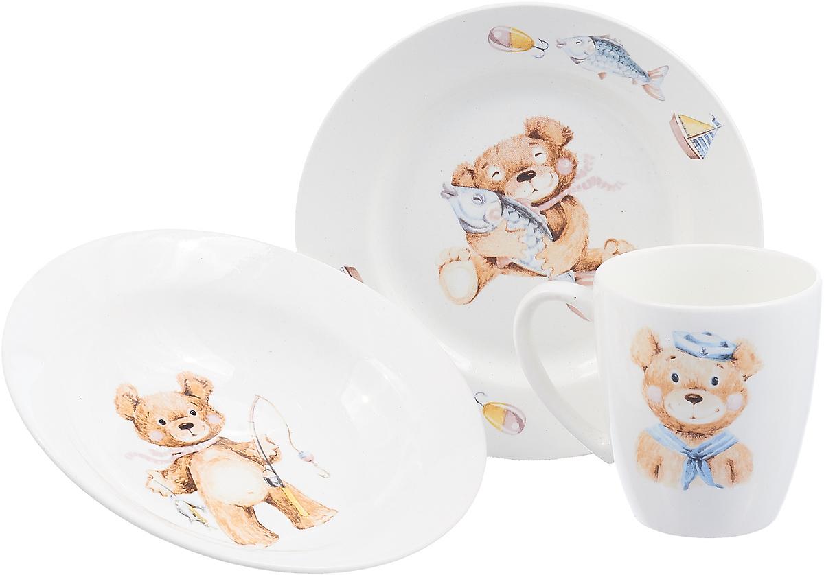 Кубаньфарфор Набор посуды для кормления Медвежата 3 предмета Мальчик lubby набор посуды для кормления 3 предмета цвет оранжевый