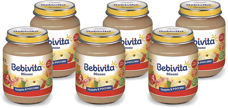 Bebivita пюре яблоко с витамином С, с 4 месяцев, 6 шт по 100 г