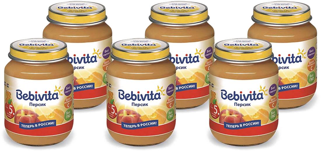 Bebivita пюре персик с витамином С, с 5 месяцев, 6 шт по 100 г