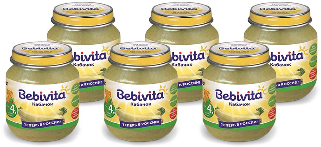 Bebivita пюре кабачок, с 4 месяцев, 6 шт по 100 г