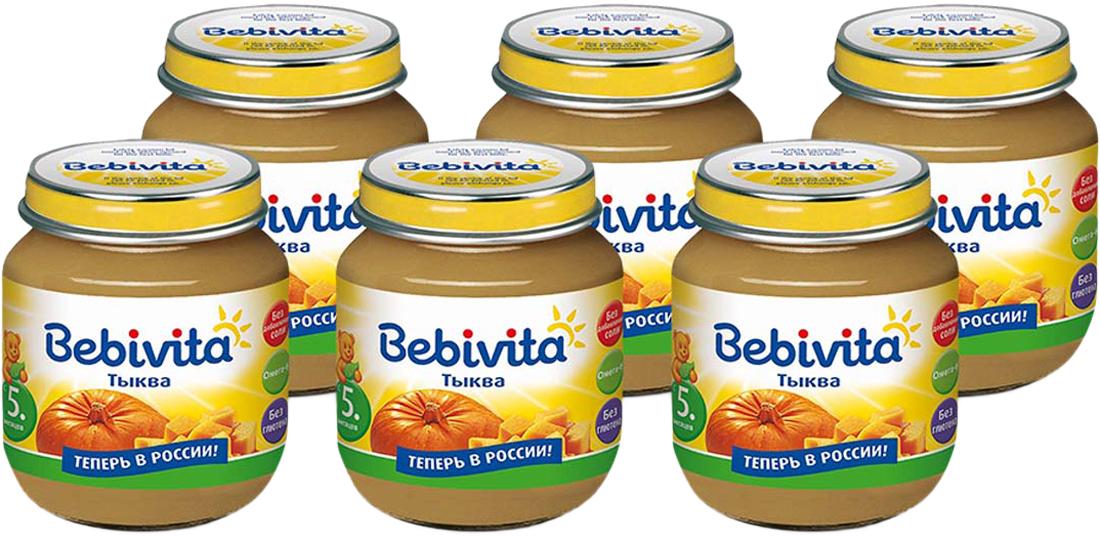 Bebivita пюре тыква, с 5 месяцев, 6 шт по 100 г