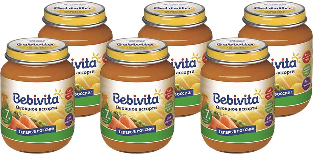 Bebivita пюре овощное ассорти, с 7 месяцев, 6 шт по 100 г
