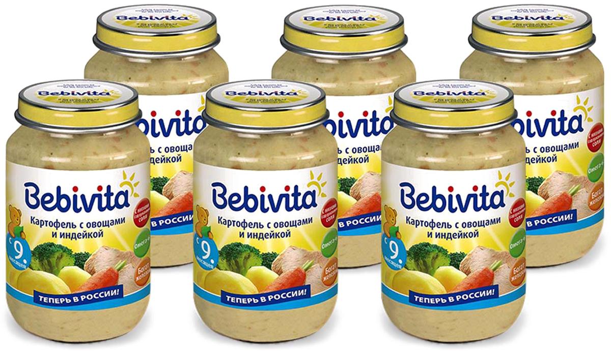 Bebivita пюре картофель с овощами и индейкой, с 9 месяцев, 6 шт по 190 г