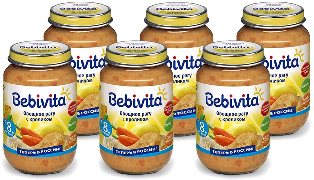 Bebivita пюре овощное рагу с кроликом, с 8 месяцев, 6 шт по 190 г сэмпер пюре картофельное рагу с говядиной с 10 мес 190г