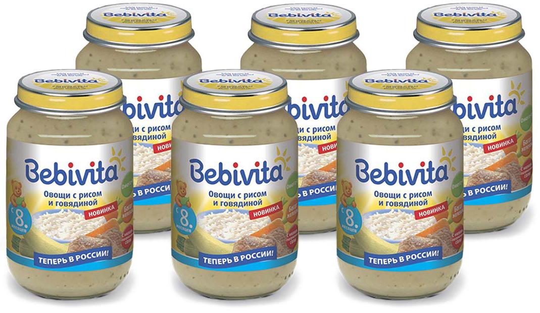 Bebivita пюре овощи с рисом и говядиной, с 8 месяцев, 6 шт по 190 г сэмпер пюре картофельное рагу с говядиной с 10 мес 190г