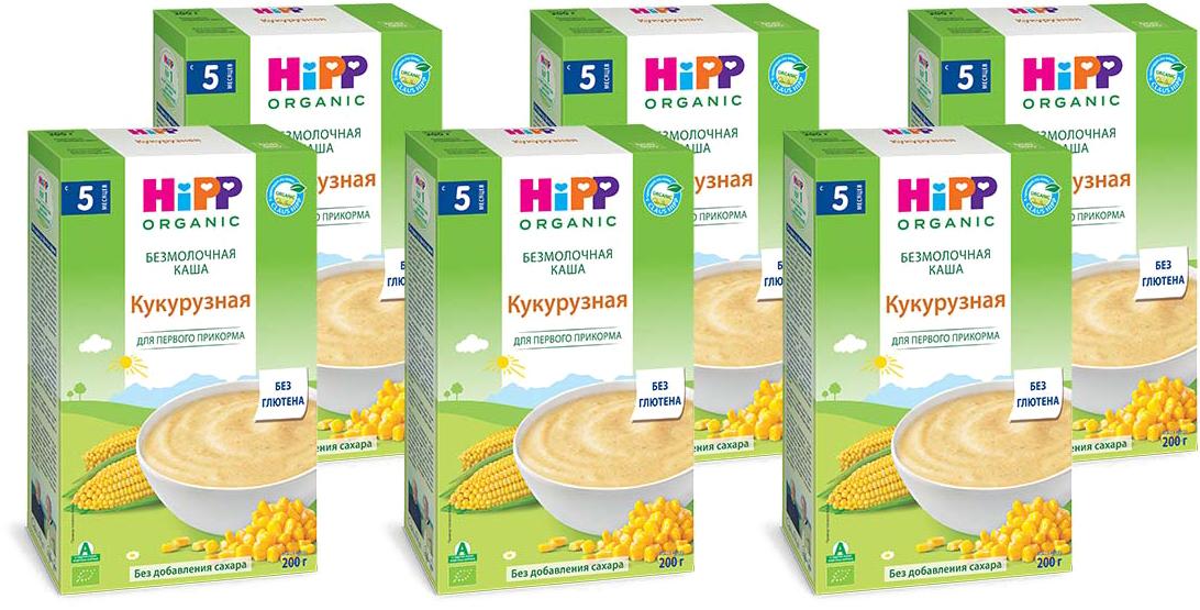 Hipp каша зерновая кукурузная, 5 месяцев, 6 шт по 200 г hipp каша зерновая спокойной ночи овсяная с бананами и мелиссой с 6 месяцев 200 г