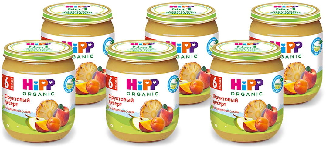 Hipp пюре фруктовый десерт, с 6 месяцев, 6 шт по 125 г