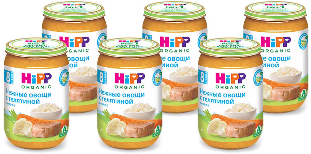 Hipp пюре нежные овощи с телятиной, с 8 месяцев, 6 шт по 220 г