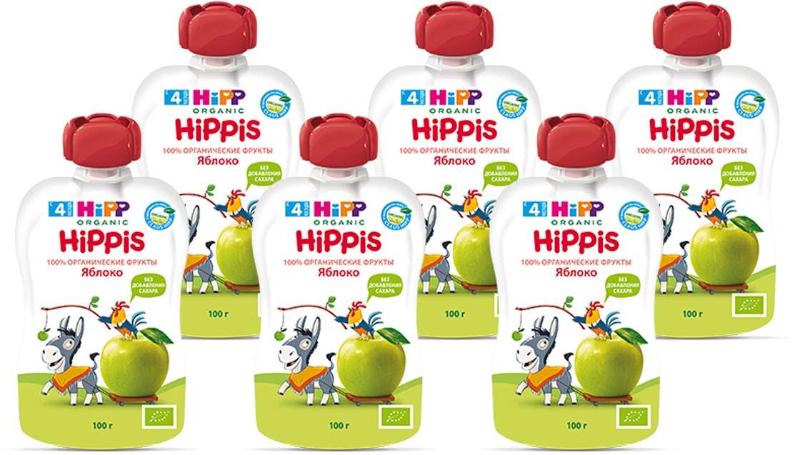 """Hipp пюре яблоко """"Hippis"""" (пауч), с 4 месяцев, 6 шт по 100 г"""