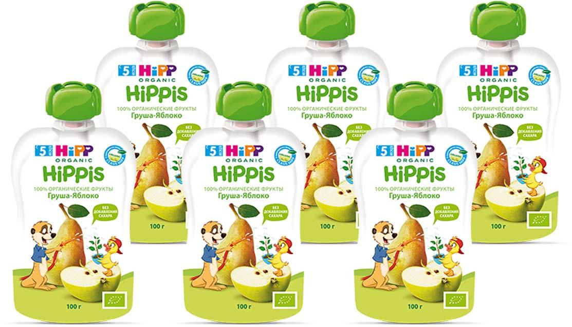 """Hipp пюре груша, яблоко """"Hippis"""" (пауч), с 5 месяцев, 6 шт по 100 г"""