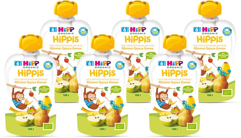 "Hipp пюре яблоко, груша, банан ""Hippis"" (пауч), с 6 месяцев, 6 шт по 100 г"